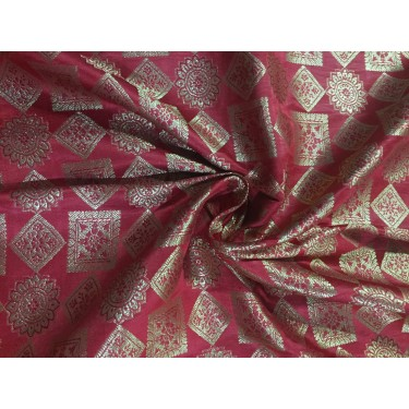 """Silk Brocade fabric bright red and  metallic  gold   BRO702[5]   44 """" wide  by the yard"""