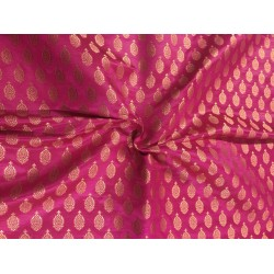 "Silk Brocade fabric hot pink  and  metallic  gold   BRO702[3]   44 "" wide  by the yard"