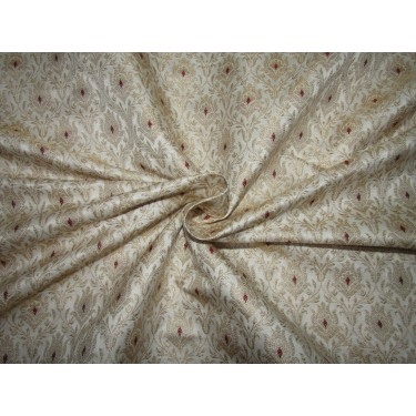 """Silk Brocade fabric ivory ,red and  metallic  gold   BRO730[1]   44 """" wide  by the yard"""