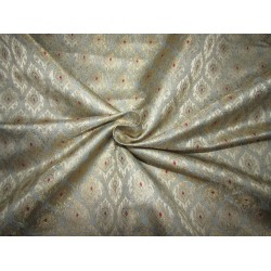 """Silk Brocade fabric  ice blue ,ivory red  and  metallic  gold  BRO730[2]   44 """" wide  by the yard"""