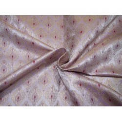 """Silk Brocade fabric LILAC ,red and  metallic  gold   BRO732[1]   44 """" wide  by the yard"""