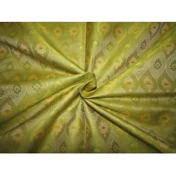 "Silk Brocade fabric   green and  yellow BRO731[3]   44 "" wide  by the yard"
