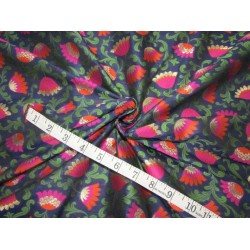 "Silk Brocade fabric  navy , pink rusty orange green and  metallic  gold  BRO734[1]   44 "" wide  by the yard"