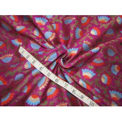 "Silk Brocade fabric  purple aubergine, blue rusty orange green and  metallic  gold  BRO734[3]   44 "" wide  by the yard"