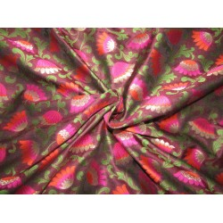 "Silk Brocade fabric  aubergine, pink rusty orange green and  metallic  gold  BRO734[4]   44 "" wide  by the yard"