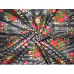 "Silk Brocade fabric  black  stripe ,metallic gold pink and orange flowers  semi sheer BRO735[1]   44 "" wide  by the yard"
