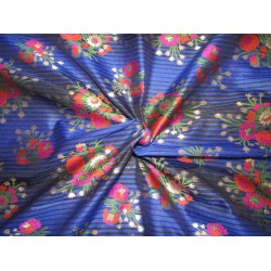 "Silk Brocade fabric  royal blue  stripe ,metallic gold pink and orange flowers  semi sheer BRO735[2]   44 "" wide  by the yard"