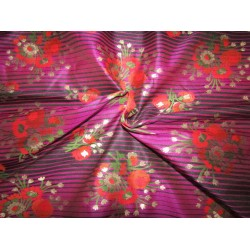 "Silk Brocade fabric  magenta stripe ,metallic gold red and orange flowers semi sheer  BRO735[3]   44 "" wide  by the yard"