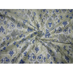 "Silk Brocade fabric  ivory ,royal blue x metallic gold  44"" BRO724[4]  by the yard]"
