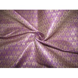 "Silk Brocade fabric  purple x metallic gold 44"" BRO725[2]  by the yard]"