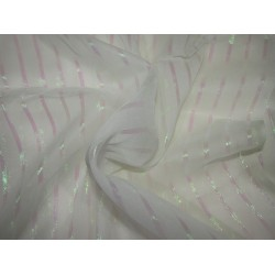White~100% silk chiffon fabric 44 inches-lurex pink stripe id=10266