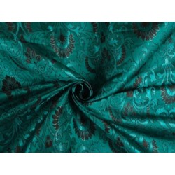 viscose SILK BROCADE FABRIC Kingfisher Blue,Black & Metallic 44""