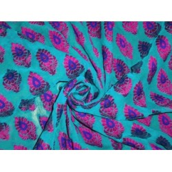 """Silk Georgette Fabric with jacquard Blue & Pink color 44"""""""