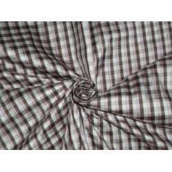 SILK Dupioni FABRIC Pink,Brown & Ivory color plaids sold by the yard