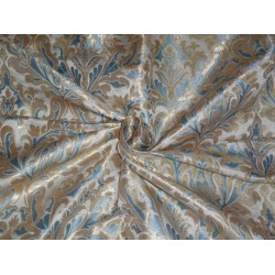 SILK BROCADE FABRIC SEA BLUE IVORY AND METALLIC GOLD
