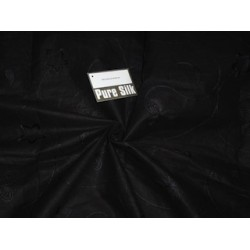 Cotton organdy fabric black with black embroidery