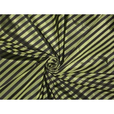 """Pure Silk Taffeta Fabric Iridescent Lime Yellow/Green & Black colour Stripes 54"""" wide sold by the yard"""