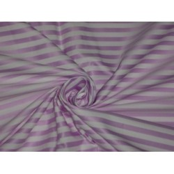 Cotton fabric satin stripe design~Ivory & Pinkish Lavender color