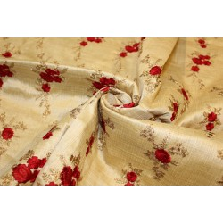 "1.50 yards POLYESTER  DUPIONI  FABRIC 44"" GOLD with embroidered red flowers and metallic gold leaves"
