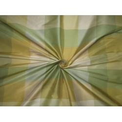 """100% PURE SILK DUPIONI  FABRIC multi color shades of green and gold PLAIDS 54""""  DUPC114[1]"""