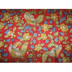 """100% silk  Dupion fabric red with multi color  floral  print 40"""" SLUBS 16mm DupPr41[3]"""