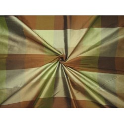 """100% PURE SILK DUPIONI  FABRIC PLAIDS  shades of browns and greens 54""""  DUPC111[2]"""