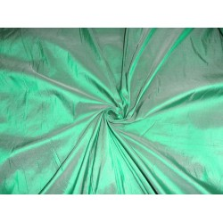 100% pure dupioni silk  118 inches wide/299 cms-rich green x ivory color pkt240