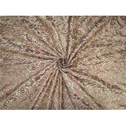 100% Silk Dupion Fabric Embroidery Olive Green x coco color 54'' DUP# E53