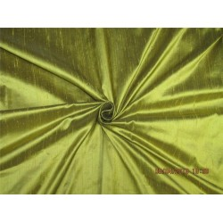 "100% PURE SILK DUPIONI FABRIC OLIVE 54"" WITH SLUBS MM45[2]"