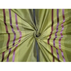 100% silk dupion olive w/pink and purple satin stripe 5.15 YARDS DUPSS2[3]
