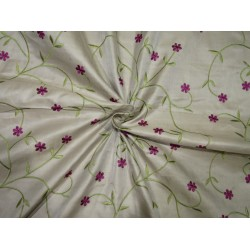 "100% SILK SATIN DUPION beige with green and aubergine  FLORAL EMBROIDERY 54""DUPE61[2]"