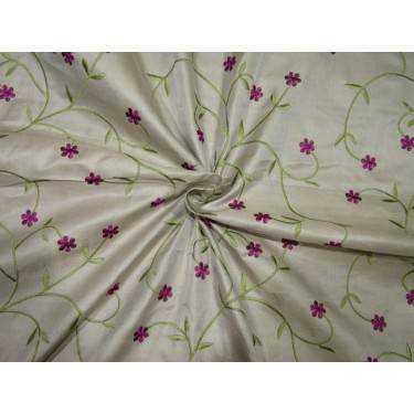 """100% SILK SATIN DUPION beige with green and aubergine  FLORAL EMBROIDERY 54""""DUPE61[2]"""
