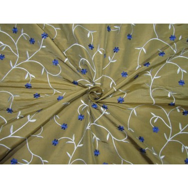 """100% SILK DUPION  KHAKHI GOLD WITH BLUE AND ROYAL BLUE  FLORAL EMBROIDERY 54""""DUPE61[1]"""