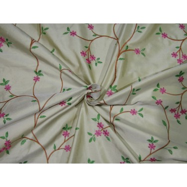 """100% SILK DUPION  dark cream with   pink green and brown FLORAL EMBROIDERY 54""""DUPE61[3]"""