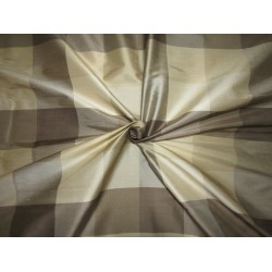 """100% PURE SILK DUPIONI  FABRIC multi color shades of  gold and grey PLAIDS 54""""  DUPC113[3]"""