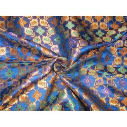 Heavy Silk Brocade Fabric Royal Blue x Metallic Gold 36'' bro633[3]
