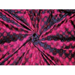 "Brocade fabric navy blue /pink/metallic gold color36""+ border 8'' Wide BRO623[3]"