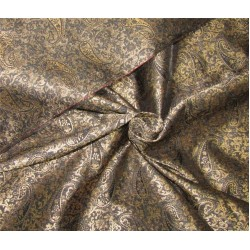Reversible Brocade fabric black x antique gold color 44'' wide bro630[1]