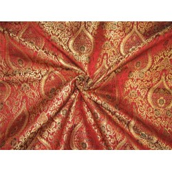 Heavy Silk Brocade Fabric dark red /multi x color Metallic Gold 44'' bro632[1]