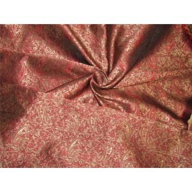 Reversible Brocade fabric wine x antique gold color 44'' wide bro630[3]