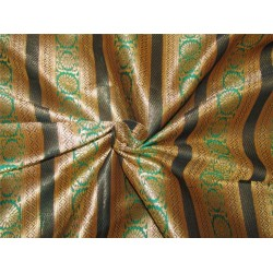 "Brocade fabric black green x metallic gold 44""wide Bro619[1]"