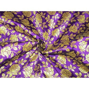 "Brocade fabric purple  x metallic gold color 44""wide Bro621[1]"