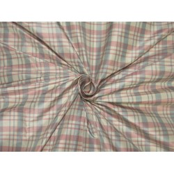 "silk taffeta fabric Plaids pink / ivory / blue TAF#C56[1] 54"" wide sold by the yard"