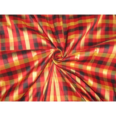 Silk Dupioni Fabric plaids red /black /gold 54'' width DUP#C95[1]