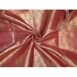 Brocade fabric pink x metallic gold color 44'' wide Bro626[2]