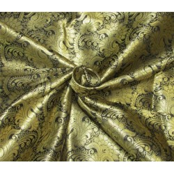 Brocade fabric black x metallic gold color 44'' wide Bro626[1]