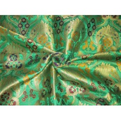 Heavy Silk Brocade Fabric Rich Green x color Metallic Gold 36'' bro633[1]