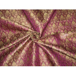 Heavy Silk Brocade Fabric Purple / black x Metallic Gold 44'' bro634[2]