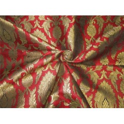 Heavy Silk Brocade Fabric Red /Green x Metallic Gold 44'' bro634[1]