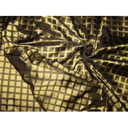 """100% silk tafetta plaids gold and black color TAFC53[7] 54"""" wide sold by the yard"""